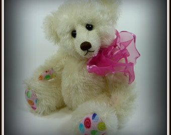 Poppy - Teddy Bear, Handmade, Stuffed Animal, Mohair, Toy, OOAK, White, Made In Alaska