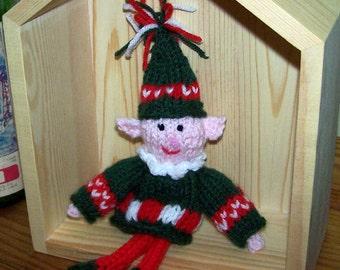 Knit elf doll, shelf sitter or ornament