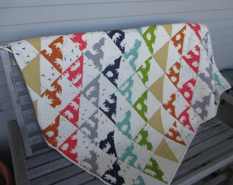 Large Organic Throw Bear Quilt made with Birch Fabric
