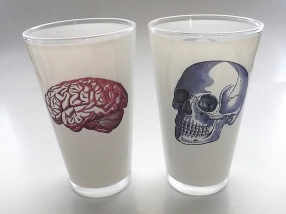 Beer Glass color Anatomy Pint gift for doctor medical student nurse neurology skull brain graduation hostess party favors stocking stuffers