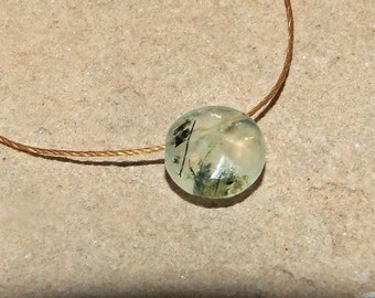 Prehnite Faceted Coin Minimalist Necklace on Cord, Petite Green Prehnite with Epidote Crystal Needles, Sterling Silver Clasp, Wabi Sabi Chic