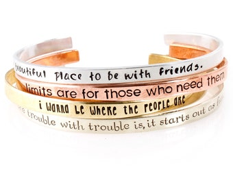 Custom Quote Skinny Cuff Bracelet - Personalized Bracelet - Hand Stamped with Your Custom Text
