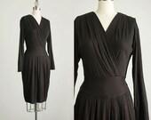 90s Vintage Black Stretch Knit Wrap Style Secretary Sweater Dress / Size Small