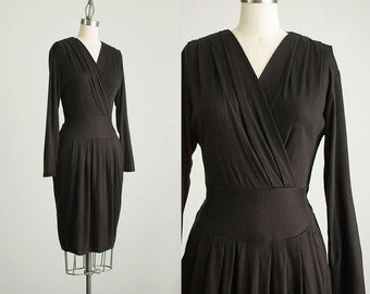 90s Vintage Black Stretch Knit Wrap Style Secretary Sweater Dress / Size Small