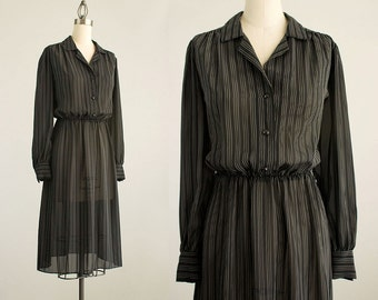 80s Vintage Black And White Pinstripe Puff Sleeve Day Dress / Size Small / Medium