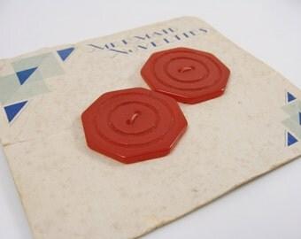 Pair of Carved Cherry Red Vintage Bakelite Buttons on Original Mermaid Novelties Card
