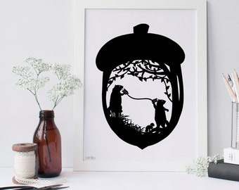 Gossiping Groundhogs Silhouette Paper Cut Art Scherenschnitte Marmots Chatting On Tin Can Phone Animals Inside Acorn Phone Call