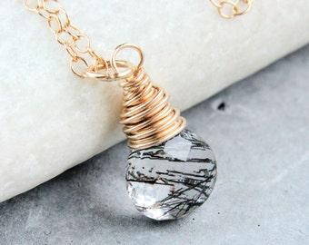 Rutilated Quartz  Necklace   Gold   Filled  Black  Gemstone Jewelry  Stone Jewelry Gemstone Necklace Drop Pendant Rutilated Quartz Pendant