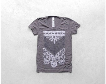 SALE The Nomad - tshirt for women - boho fashion - chest plate screenprint - heather brown womens t shirt - graphic tee - CLOSEOUT