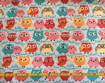 NEW Riley Blake Tree Party Owls on Blue cotton Lycra  knit fabric 1 yard