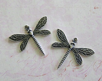2 Medium Silver Dragonfly Charms 3824