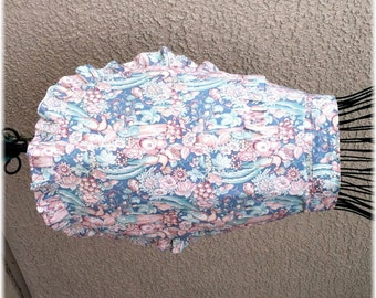 PINK & BLUE FLORAL Apron with Ruffle