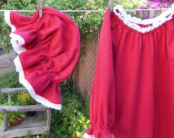 Prairie Nightgown & Mob Cap Girls 6 - 16 Red Flannel Eyelet Lace Custom Made