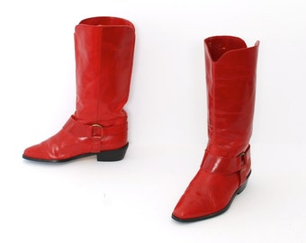 size 7 MOTORCYCLE red leather 80s 90s PULL on boots made in ITALY