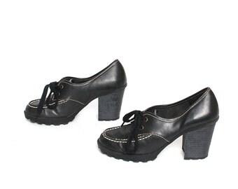 size 7 PLATFORM black vegan 80s 90s CHUNKY GRUNGE high heel ankle boots