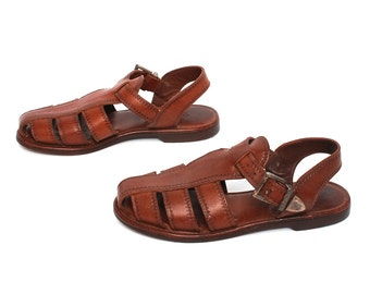size 5.5 FISHERMAN brown leather 80s 90s SLINGBACK buckle sandals