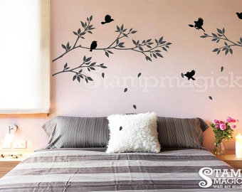 Branch Wall Decal with birds - tree branch wall decal sticker - vinyl wall decal decor graphics - K021B
