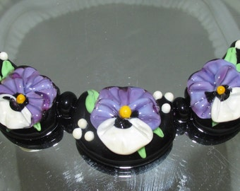 Pansy Set for Necklace. Lampwork beads by Teena