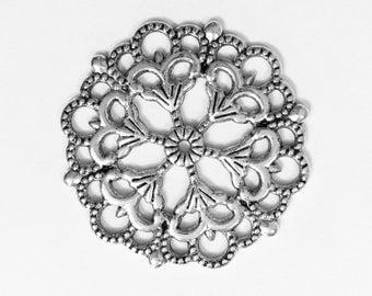 Bulk 20 pcs of Antique silver  filigree focal pendant 29mm, Antique silver filigree connector