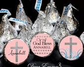108 Hershey Kiss® Stickers - Baptism Favors, Christening Favor, Communion Hershey® favors - Religious Crosses for Boy and Girl - God Bless