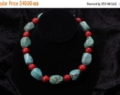 MEGA CLEARANCE SALE Blue Turquoise and Red Coral Necklace