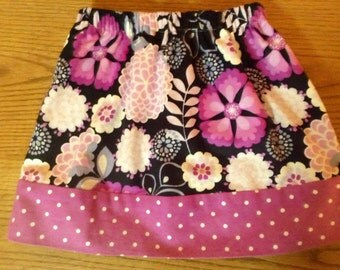 Mismatched Masterpiece ORCHID FLOWERS and DOTS  super fun skirt Girls Size 6/7 ready to ship One of A KInd