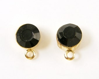 Small Black Rhinestone Earring Posts Gold Stud Finding with Loop |BL7-7|2