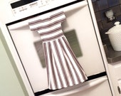 Kitchen Dish Towel / Tea Towel Dress in White, Gray and Black