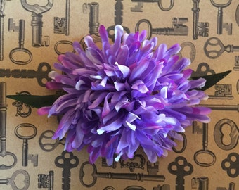 Purple mum flower barrette