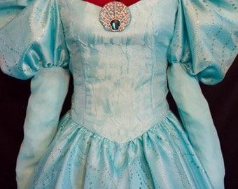 DELUXE Little Mermaid Ariel AQUA Gown Costume Adult Size