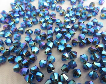 48 Graphite AB2X Swarovski Crystal Beads Bicone 5328 4mm