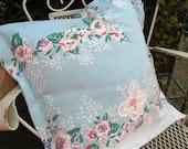 Pillow sham Vintage tablecloth Shabby Farmhouse Summer Porch Blue Pink floral RDT ECS