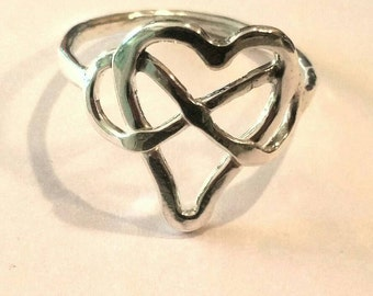 Infinity Heart Ring, Eternity Jewelry, Lovers Heart Ring, Fine Silver, Rustic, US Size 9 Handmade by Maggie McMane Designs