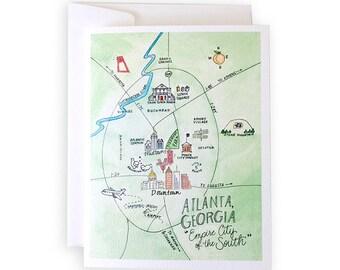 Atlanta, Georgia Map Notecard Set