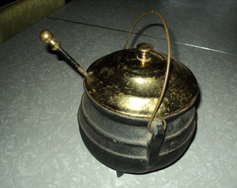 Vintage Fireplace Pot With Fire Starter--Brass and Cast Iron