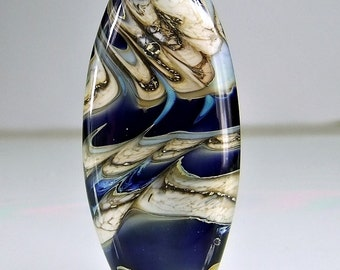 Blue Silvered Ivory Organic Lampwork Focal Bead