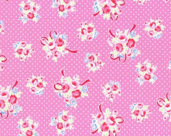Pink Ribbon Bouquet 31378 22 Fabric by Lecien Flower Sugar Sweet Carnival