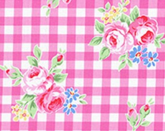 Pink White Gingham Plaid Rose Floral 31270 20 Fabric by Lecien Flower Sugar