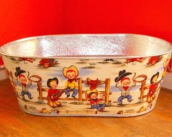 Retro Lil Cowpokes X-Large Oval Galvanized Metal Storage Tub