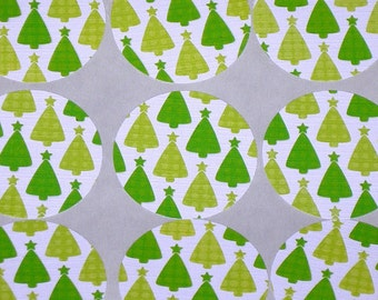 """Little Green Christmas Trees 1.5"""" Scallop Sticker Set or Envelope Seal Stickers"""