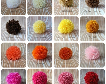 Set of 6 Yarn Pom Poms - Small - 1.5 inch