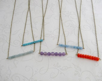 Gemstone bar necklace, choose color, minimalist necklace, gold or brass chain