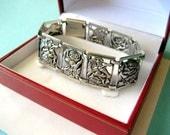 Vintage Sterling Silve Rose Panel Bracelet