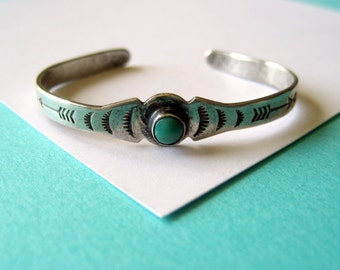 Fred Harvey Sterling Silver and Turquoise Stamped Baby Cuff