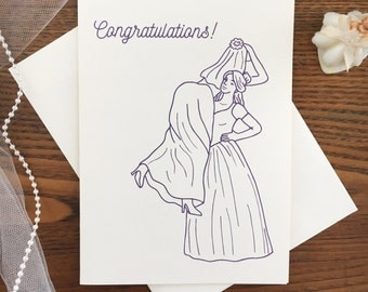 Lesbian Wedding Card. Gay Marriage. Civil Partnership. Two Brides. Same Sex Marriage. Congratulations Card. Gay Wedding Card. Blank Card