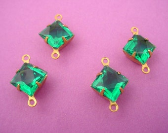 4 Vintage Glass Green teal  Square Set  brass  Connectors Charms 8x8 open back 8mm