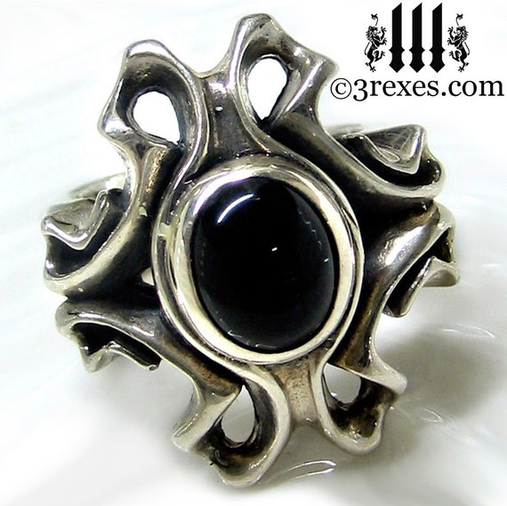 Empress Vampire Ring Black Onyx Silver Cocktail Band Size 6.25