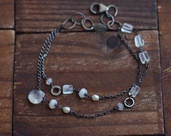 Moonstone Pearl Rock Crystal Bracelet - Winter Bracelet - Black & White Bracelet - Double Strand Bracelet -Oxidized Sterling Silver Bracelet