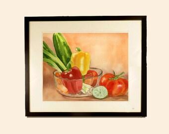 Vegetable watercolor art print Watercolor art Print Vegetable garden art Orange painting Kitchen wall art Wall decor pepper tomato onions