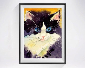 26. Tuxedo Cat Paintings - Watercolor Print - Tuxedo cat art Black cat art Animal painting mustard yellow  LaBerge Muren - Cat